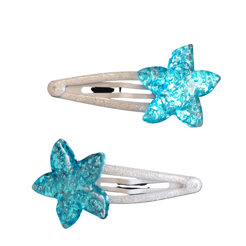 Glittery Blue StarFish Snaps Hair clips Ponytails and Fairytales