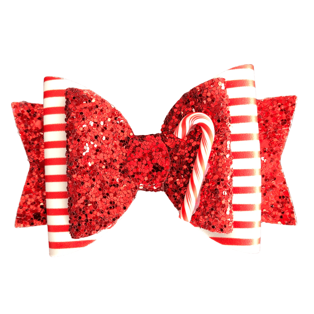 Glittery Christmas Candy Cane Hair Clip christmas Ponytails and Fairytales