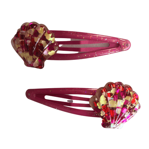 Glittery Pink Shell Snaps Hair clips Ponytails and Fairytales