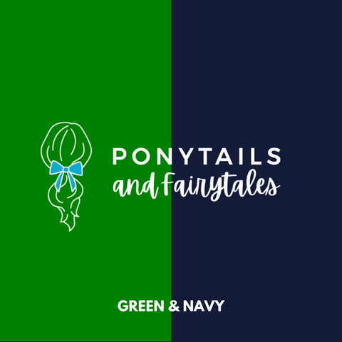 Green & Navy Hair Accessories - Ponytails and Fairytales