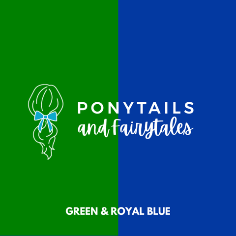 Green & Royal Blue Hair Accessories - Assorted Hair Accessories - School Uniform Hair Accessories - Ponytails and Fairytales
