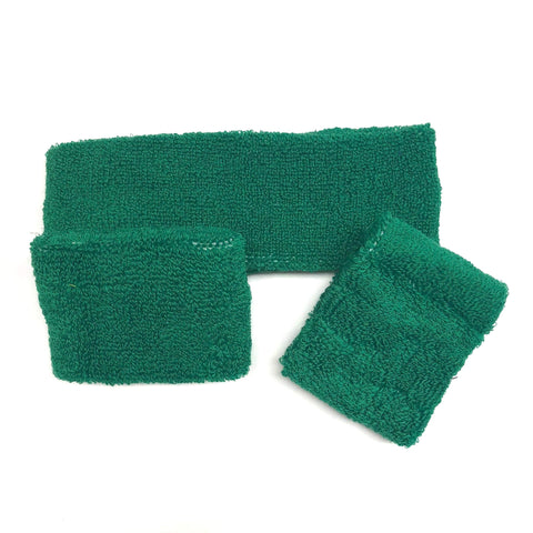 Green Sweat Band Set (3pc) - Carnival and event - School Uniform Hair Accessories - Ponytails and Fairytales