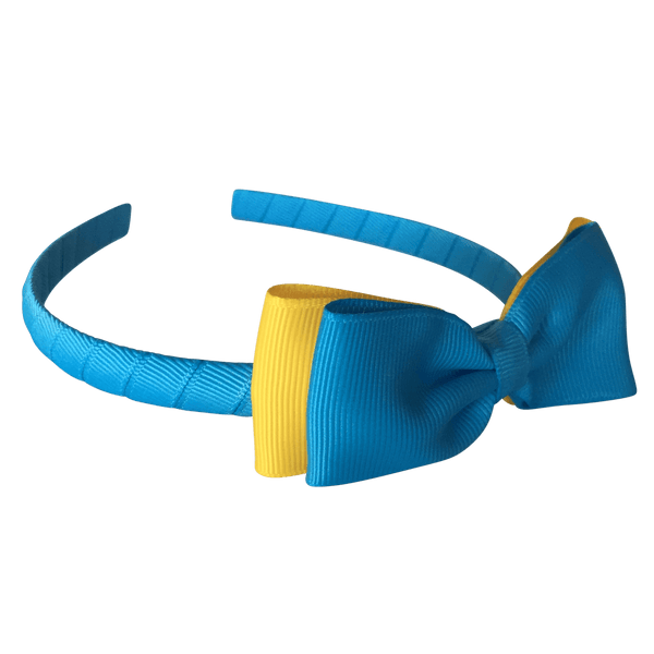 Headband with Bowtie - Combined Colours - Headbands - School Uniform Hair Accessories - Ponytails and Fairytales