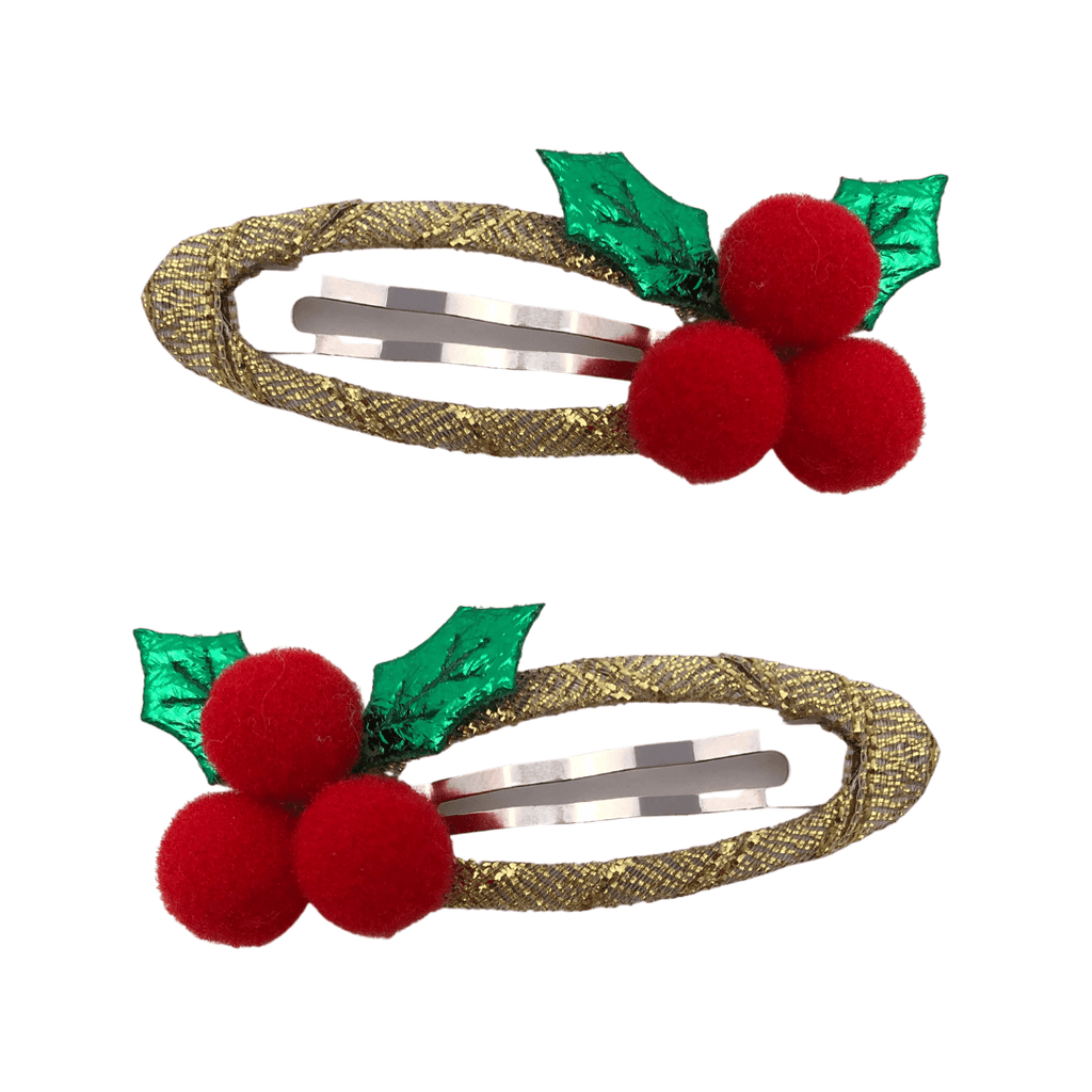 Holly Christmas Snap Clips christmas Ponytails and Fairytales