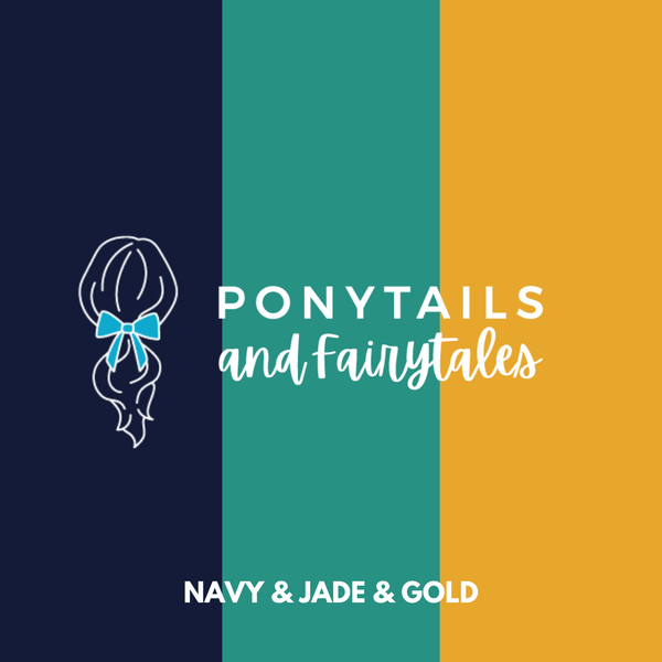Jade & Gold & Navy Hair Accessories Assorted Hair Accessories School Ponytails - Colours