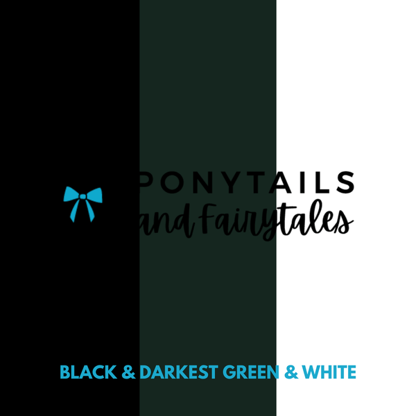 Kindy Basics Kit (20pc) School kits School Ponytails - Multibuys Darkest Petrol Green & Black & White