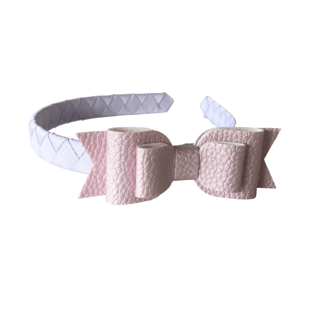Layered Faux Leather Big Bow Headband - Headbands - School Uniform Hair Accessories - Ponytails and Fairytales
