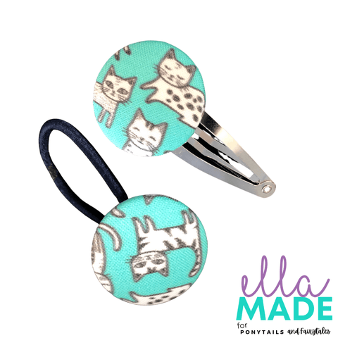 Limited Edition: Cats Covered Buttons Hair clips Ella Made Set - Snap Clip + Hair Tie