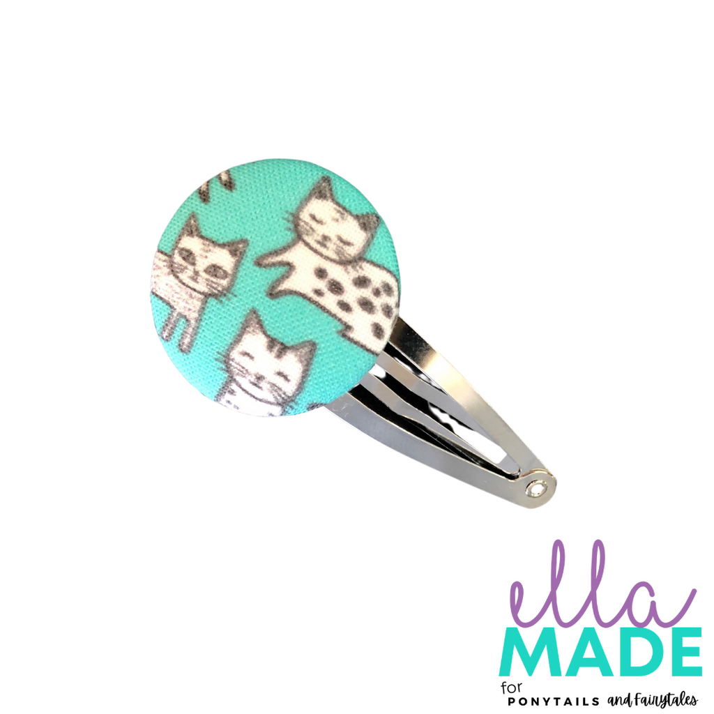 Limited Edition: Cats Covered Buttons Hair clips Ella Made Snap Clip