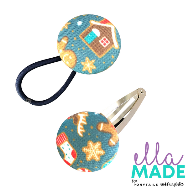 Limited Edition: Christmas Covered Buttons Hair clips Ella Made Set - Snap Clip + Hair Tie