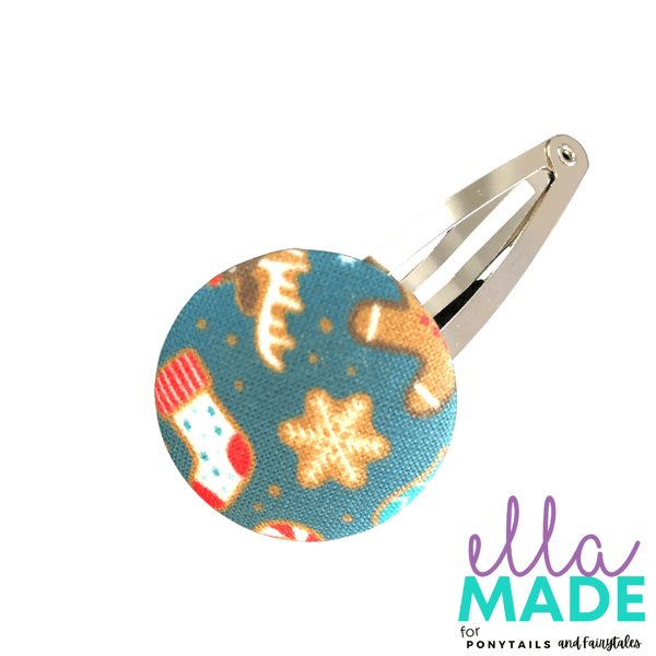 Limited Edition: Christmas Covered Buttons Hair clips Ella Made Snap Clip