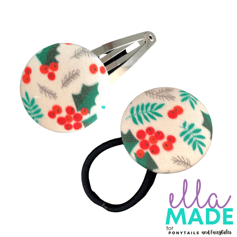 Limited Edition: Christmas Holly Covered Buttons Hair clips Ella Made Set - Snap Clip + Hair Tie