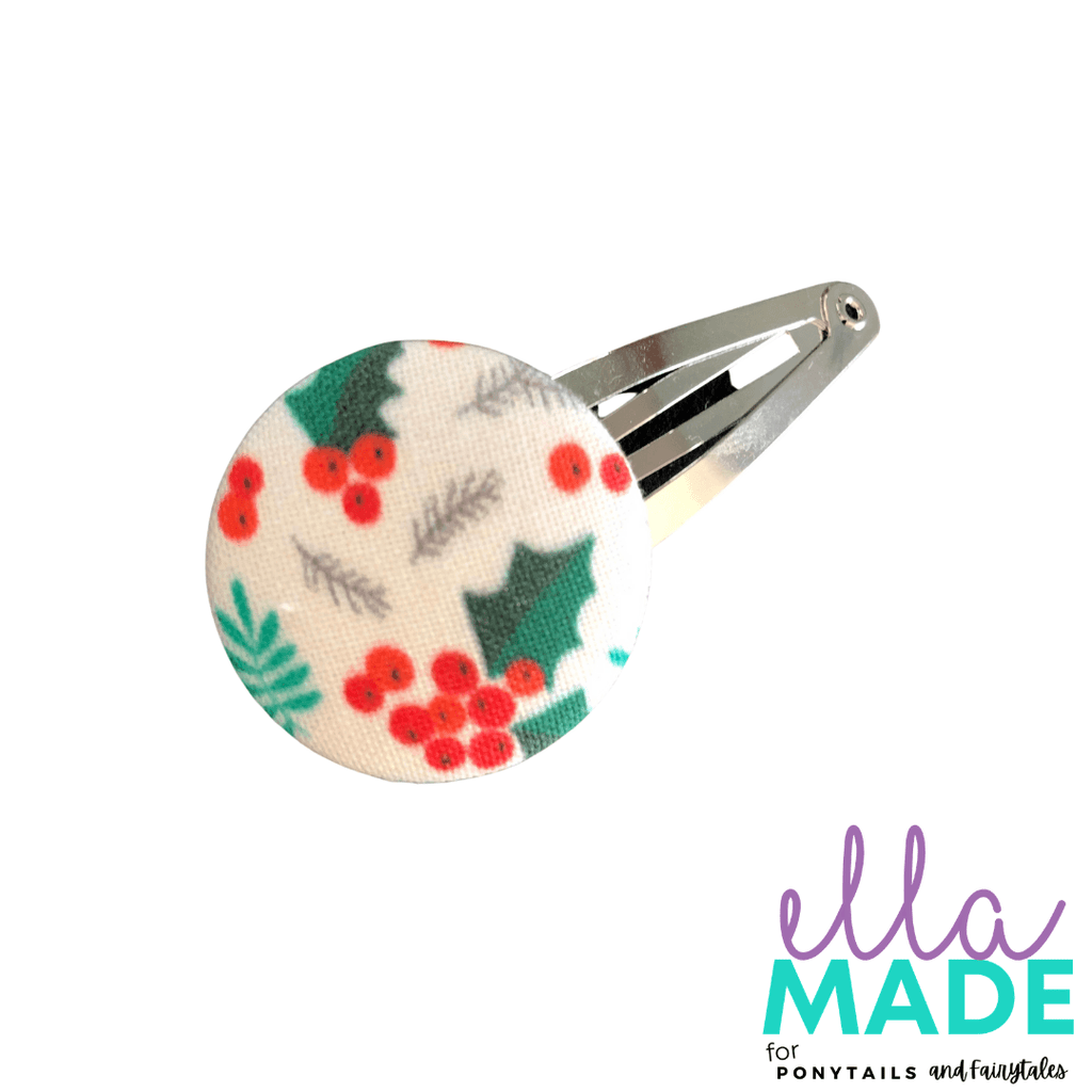 Limited Edition: Christmas Holly Covered Buttons Hair clips Ella Made Snap Clip