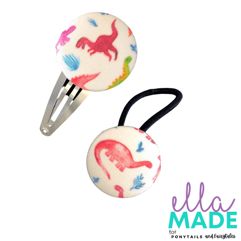 Limited Edition: Dinosaur Covered Buttons Hair clips Ella Made Set - Snap Clip + Hair Tie