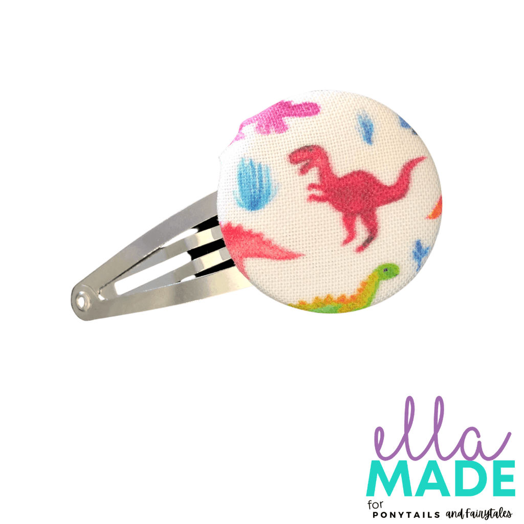 Limited Edition: Dinosaur Covered Buttons Hair clips Ella Made Snap Clip