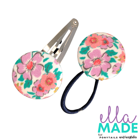 Limited Edition: Ditsy Floral Covered Buttons Hair clips Ella Made Set - Snap Clip + Hair Tie