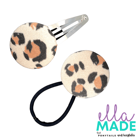 Limited Edition: Leopard Covered Buttons Hair clips Ella Made Set - Snap Clip + Hair Tie