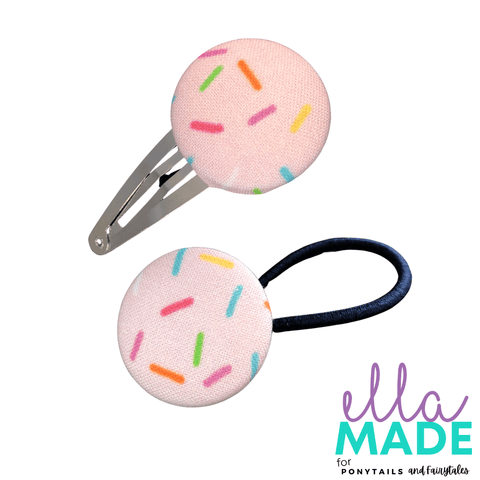 Limited Edition: Rainbow Sprinkles Covered Buttons Hair clips Ella Made Set - Snap Clip + Hair Tie