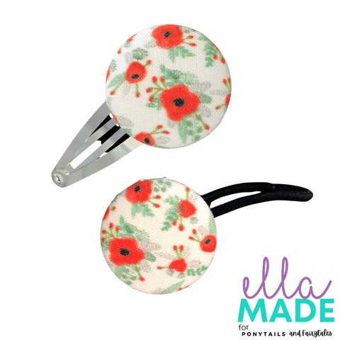 Limited Edition: Remembrance Poppies Covered Buttons Hair clips Ella Made Set - Snap Clip + Hair Tie
