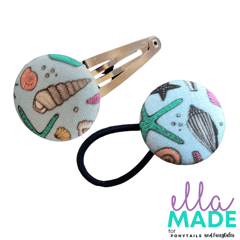 Limited Edition: Sea Shells Covered Buttons Hair clips Ella Made Set - Snap Clip + Hair Tie