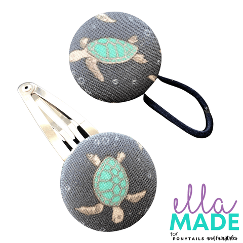 Limited Edition: Sea Turtle Covered Buttons Hair clips Ella Made Set - Snap Clip + Hair Tie