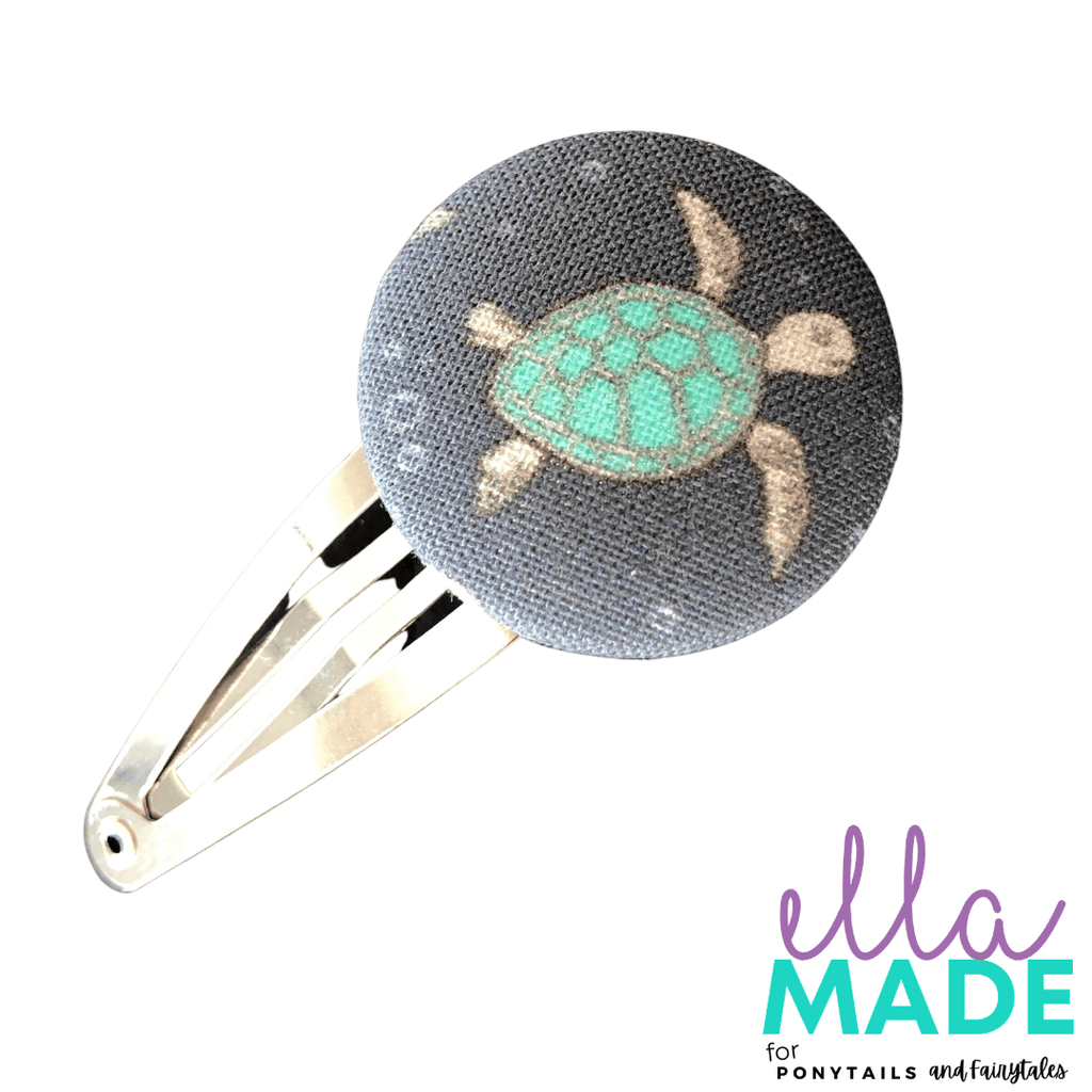 Limited Edition: Sea Turtle Covered Buttons Hair clips Ella Made Snap Clip