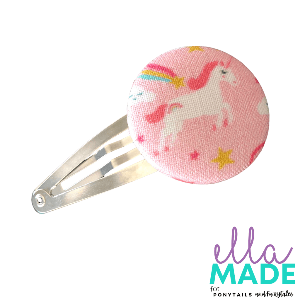 Limited Edition: Unicorns + Rainbows Covered Buttons Hair clips Ella Made Snap Clip