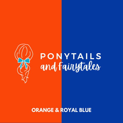 Orange & Royal Blue Hair Accessories Assorted Hair Accessories School Ponytails - Colours