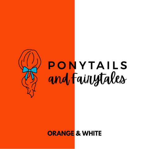Orange & White Hair Accessories Assorted Hair Accessories School Ponytails - Colours