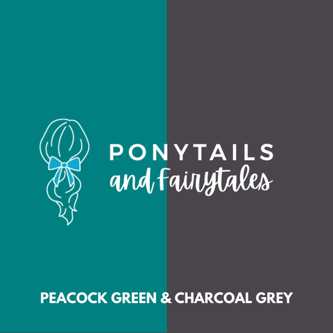 Peacock Green & Charcoal Grey Hair Accessories Assorted Hair Accessories School Ponytails - Colours