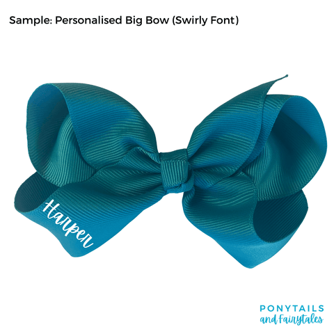 Personalised Big Bow - Hair clips - School Uniform Hair Accessories - Ponytails and Fairytales