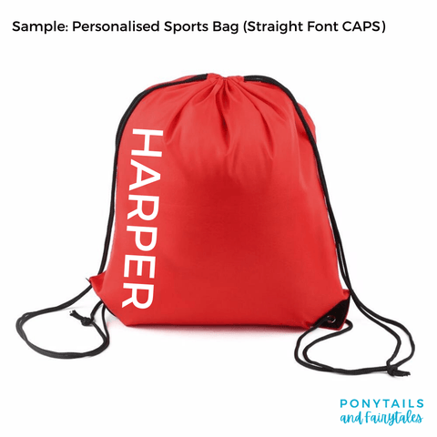 Personalised Sports and Library Bags - Carnival and event - School Uniform Hair Accessories - Ponytails and Fairytales