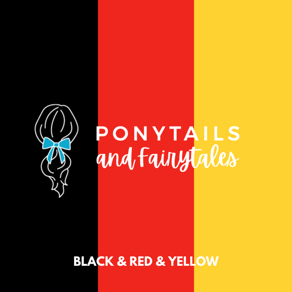 Ponytail Streamer Hair clips School Ponytails Yellow & Red & Black