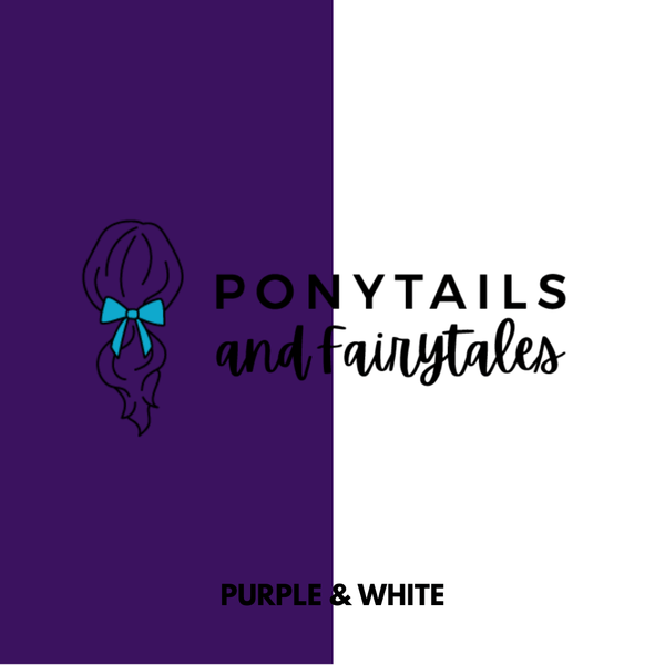 Purple & White Hair Accessories Assorted Hair Accessories School Ponytails - Colours
