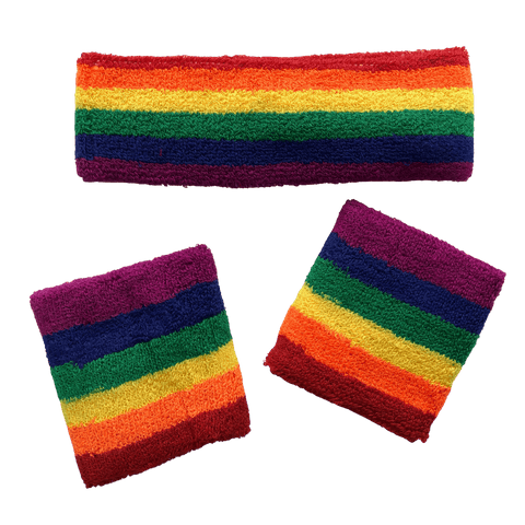 Rainbow Sweat Band Set (3pc) - Carnival and event - School Uniform Hair Accessories - Ponytails and Fairytales