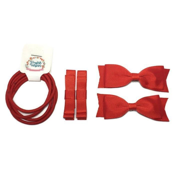 Red Hair Accessories - Assorted Hair Accessories - School Uniform Hair Accessories - Ponytails and Fairytales