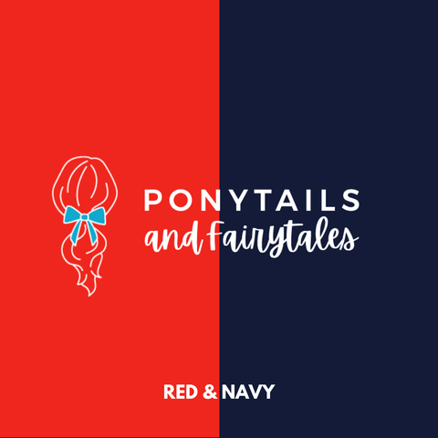 Red & Navy Hair Accessories - Ponytails and Fairytales