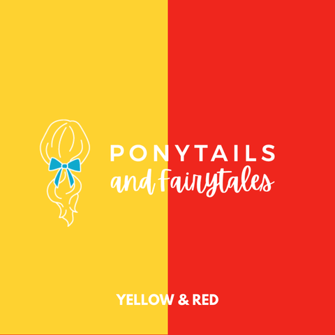 Red & Yellow Assorted Hair Accessories School Ponytails - Colours