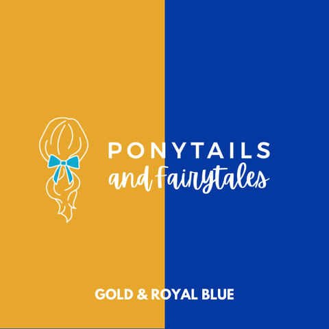 Royal Blue & Gold Hair Accessories - Ponytails and Fairytales
