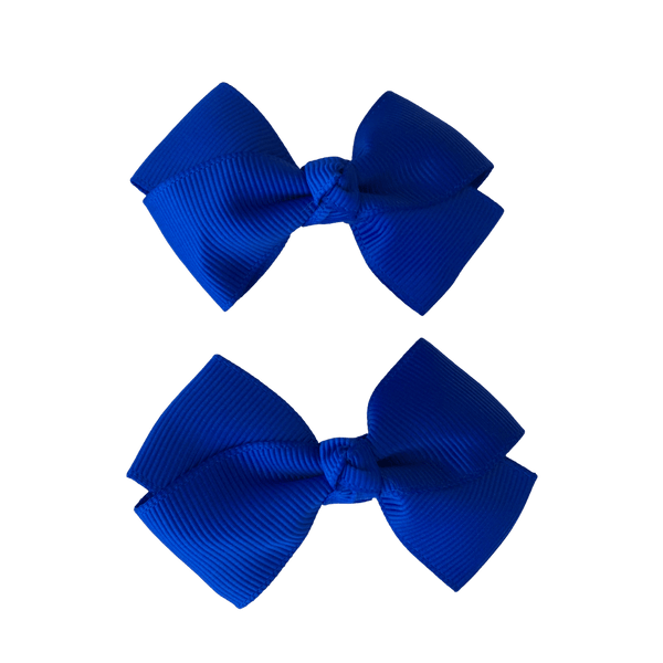 Royal Blue Hair Accessories Assorted Hair Accessories School Ponytails - Colours Two Tone Bow Clips 2pc