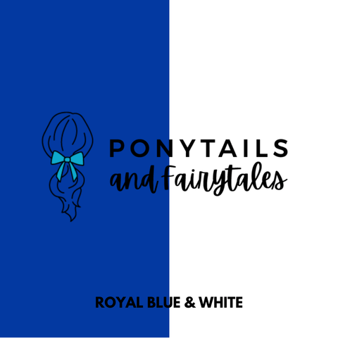 Royal Blue & White Hair Accessories - Ponytails and Fairytales
