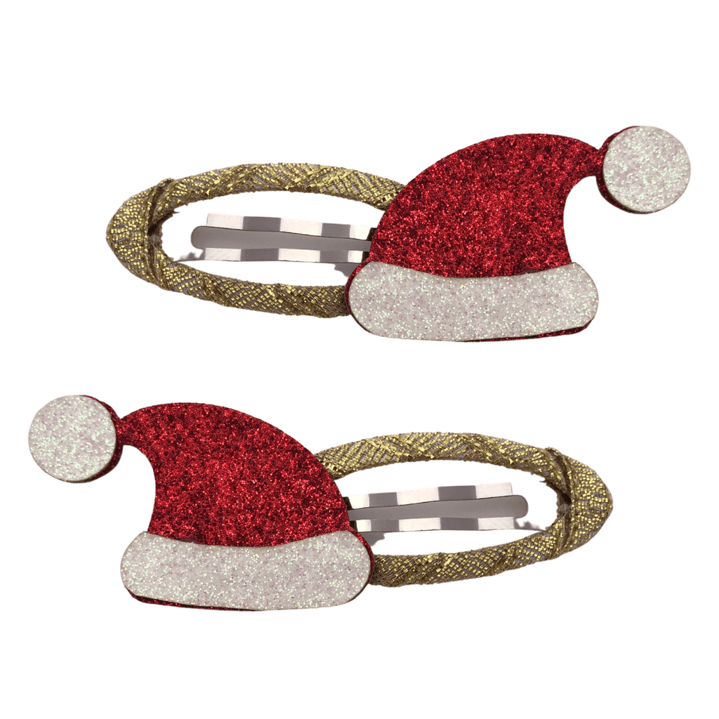 Santa Hat Christmas Snap Clips christmas Ponytails and Fairytales