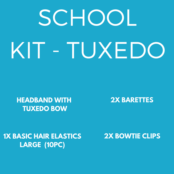 School Basics Kit -Tuxedo Bow (10pc) - School kits - School Uniform Hair Accessories - Ponytails and Fairytales