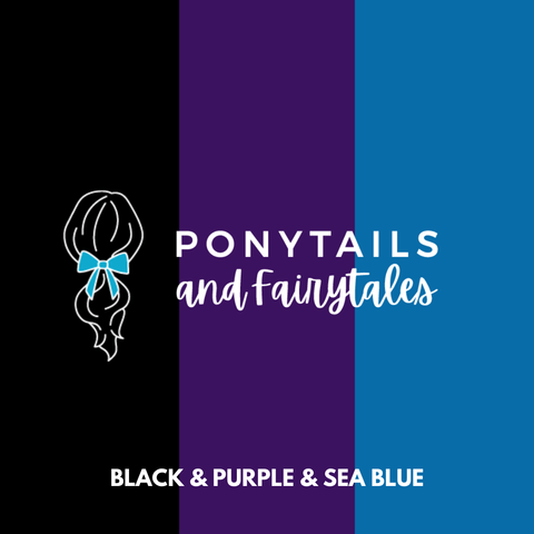 Sea Blue, Purple, & Black Hair Accessories - Assorted Hair Accessories - School Uniform Hair Accessories - Ponytails and Fairytales