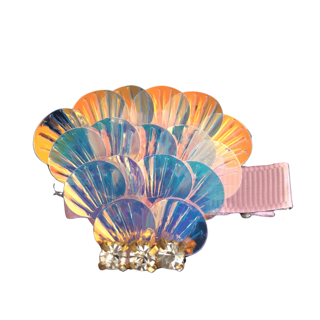 Shimmery Sequin Seashell Clip Hair clips Ponytails and Fairytales