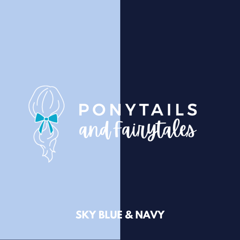 Sky Blue & Navy Hair Accessories - Ponytails and Fairytales