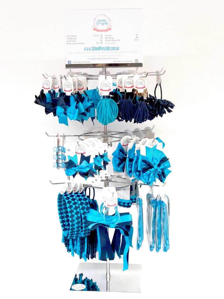 Stockist Counter Display: Large Spinner - Spinner Display - School Uniform Hair Accessories - Ponytails and Fairytales