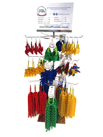 Stockist Counter Display: Sports Basics for House / Team / Faction - Spinner Display - School Uniform Hair Accessories - Ponytails and Fairytales