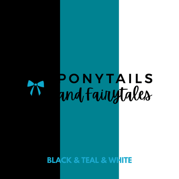 Teal & Black & White Hair Accessories Assorted Hair Accessories School Ponytails - Colours