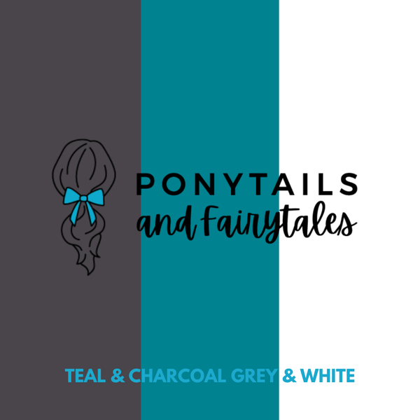 Teal & Charcoal Grey & White Hair Accessories - Assorted Hair Accessories - School Uniform Hair Accessories - Ponytails and Fairytales
